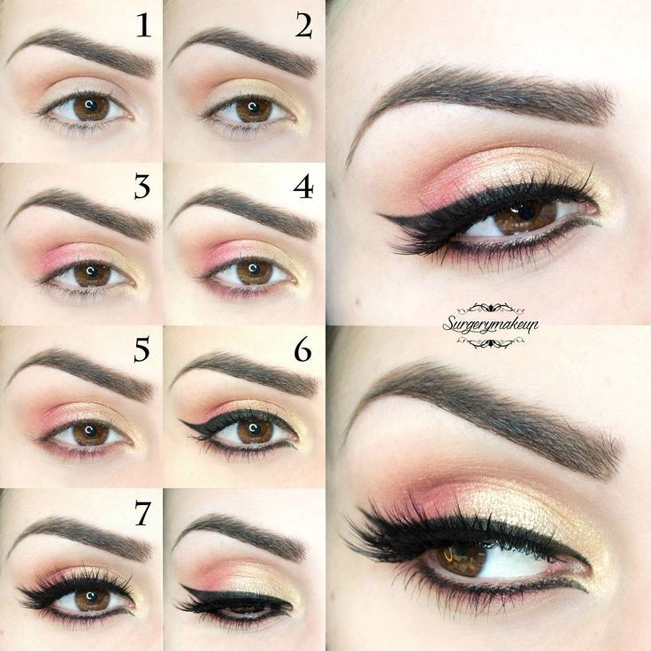 How to create a perfect spring eye make up with gold and peach eyeshadows, black eyeliner and beautiful false lashes.