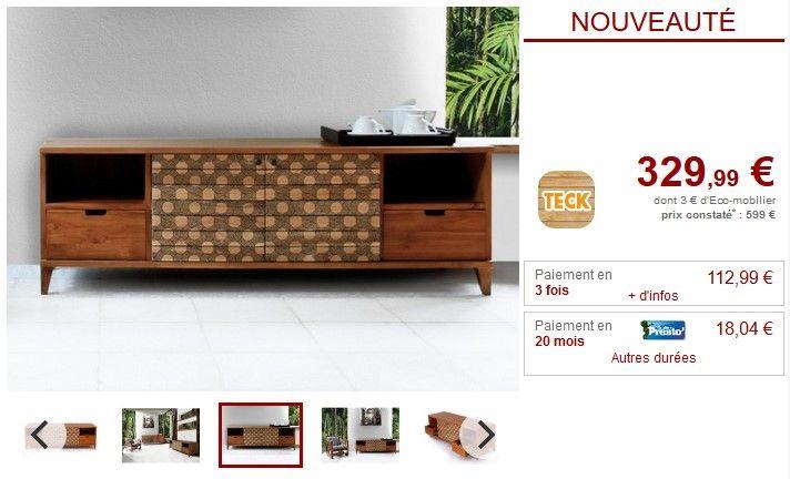 Meuble TV TANGARA 2 portes et 2 tiroirs Teck massif pas cher prix Meuble Tv Vente Unique 329.99 € TTC prix constaté 599 €