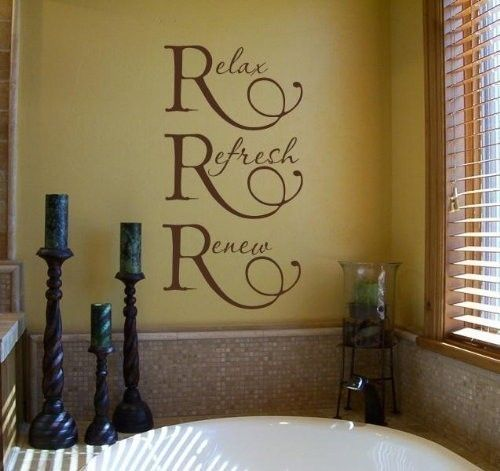 Relax refresh renew wall quote vinyl lettering for the for Bathroom wall mural ideas