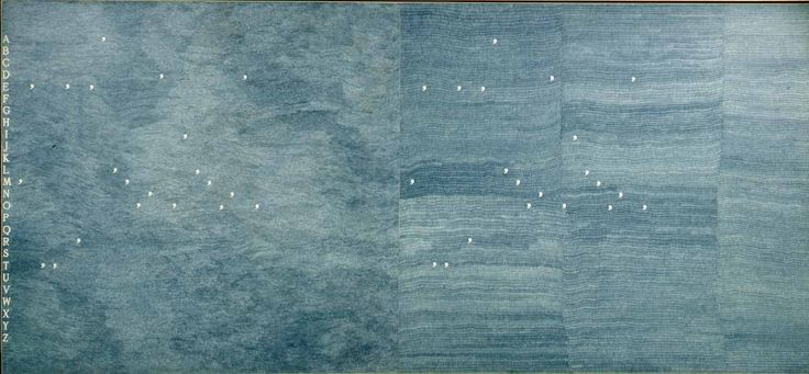 Alighiero Boetti, Mettere al mondo il mondo, 1975, stylo-bille bleu sur papier sur toile, 2 pièces cm 160 x 347 / in 63 x 136,6