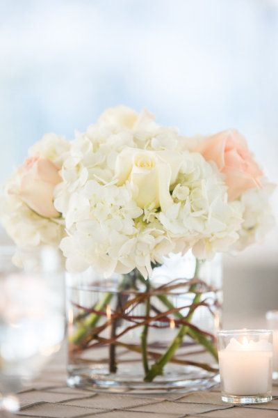 SIMPLE FILLERS. White HYDRANGEA / soft pale roses centerpiece - Romantic Knoxville Wedding from JoPhoto