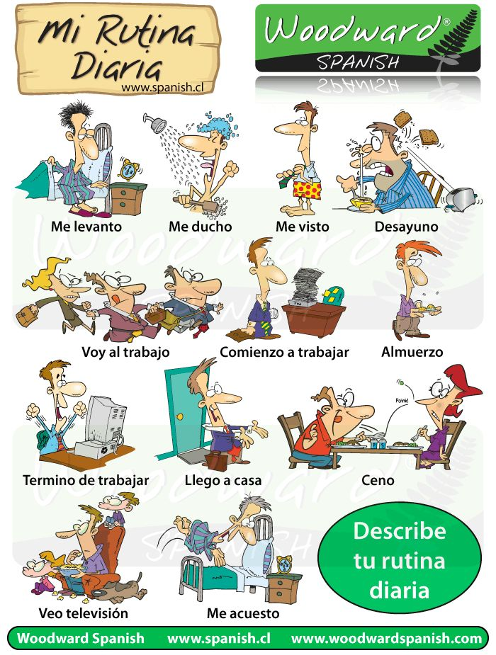 Common Spanish phrases for describing daily routines. Rutinas diarias. #Spanish learning #Learn Spanish #Teaching Spanish