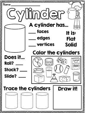 Amazing geometry worksheets for first grade!! It has these worksheets for every 2D and 2D shape and so much more!