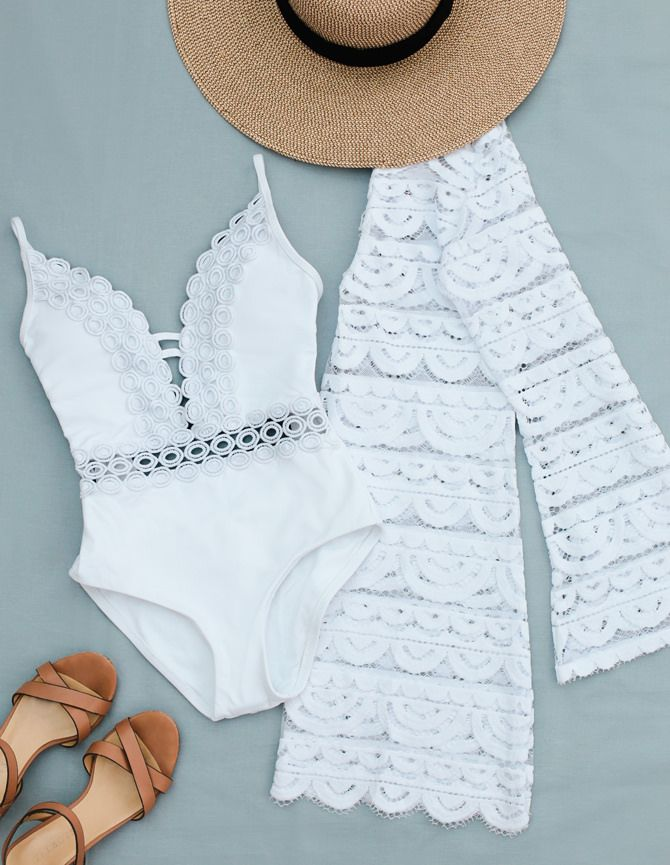 Extra Petite. White swimsuit+white lace cover-up+cognac ankle strap sandals+sunhat. Summer Beach Outfit 2017