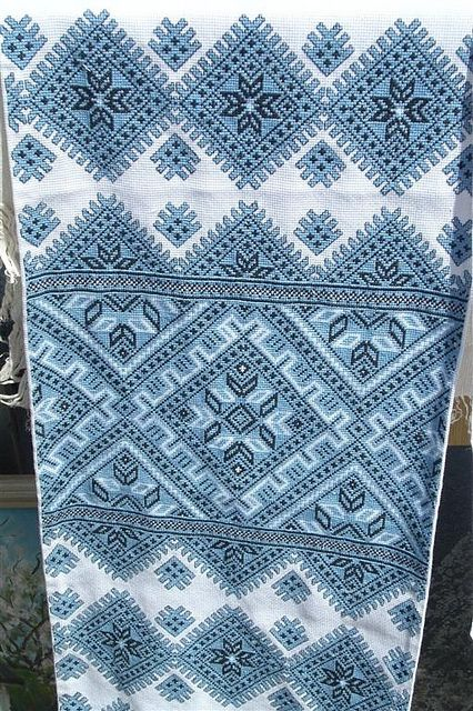 Cross Stitched Embroidered Towel In Blue (Western Ukraine) by MariyaZ, via Flickr