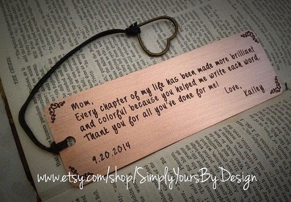 Personalized Copper Bookmark - Mother of the Bride Gift - Mother of the Groom Present - Mom Thank You Present - Gift for Her