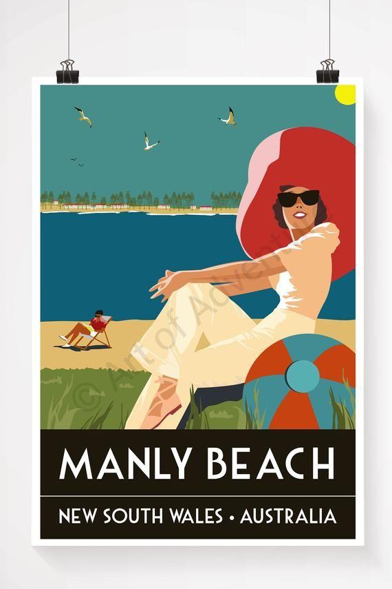 Manly Beach Sydney Australia Poster Print Travel Poster Vintage Print In 2020 Manly Beach Manly Beach Sydney Manly