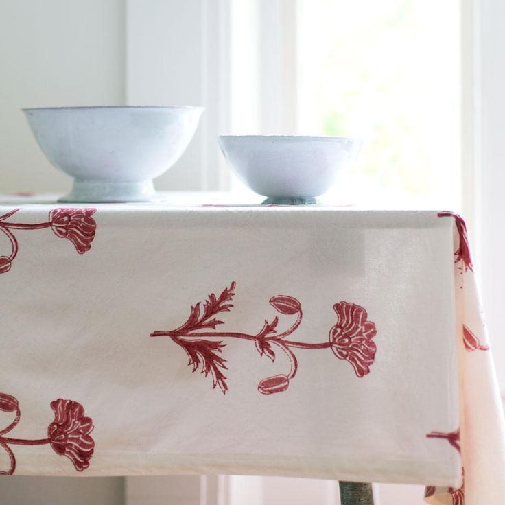 pavot madder red tablecloth-kitchen & dining - table linens-les indiennes-k colette