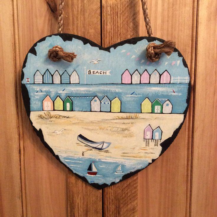 Beside the sea...Hand painted slate art heart. Seaside/coast/nautical/boats/beach huts/sand/bunting/birds/unique. by CoastalTreasure on Etsy