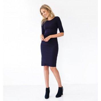 Marine blauwe jurk
