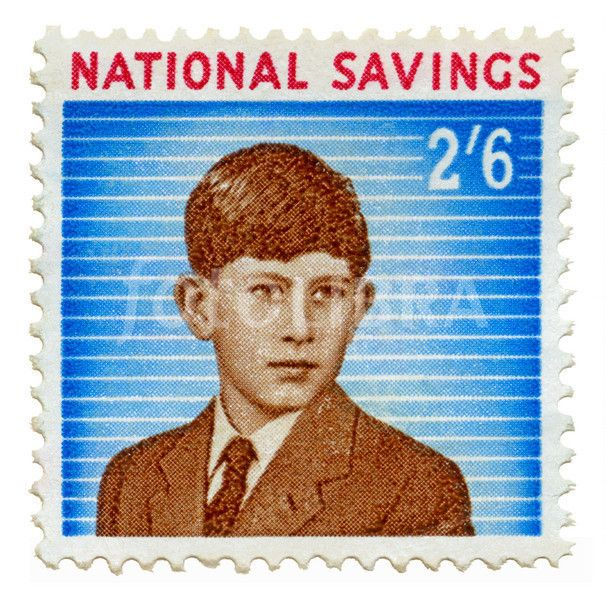 Prince Charles savings stamp c. 1960.  I was encouraged to save up any money given to me by relatives & buy these to stick them in the savings book.  There was a Princess Anne stamp for a lower amount, was it a 1/0 shilling?  (JT)
