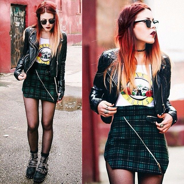 Luanna Perez edgy/rock outfit.sunglasses.leather jacket.vintage band t,