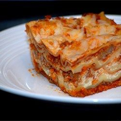 "Easy Lasagna Recipe - Regular noodles work the same way as ""no-boil"" by Barilla. Can be made ahead and baked up to 2 days later or let sit about an hour and then bake."