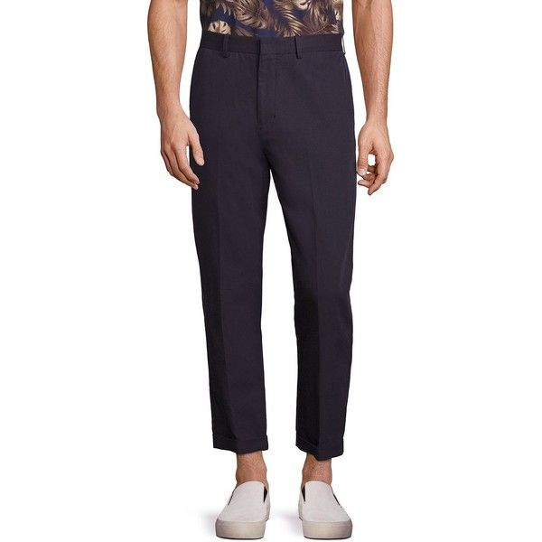 Vince Relaxed Cotton & Linen Cropped Trousers ($130) ❤ liked on Polyvore featuring men's fashion, men's clothing, men's pants, men's casual pants, mens navy blue pants, mens pleated pants, mens cropped pants, mens pants and mens zip off pants