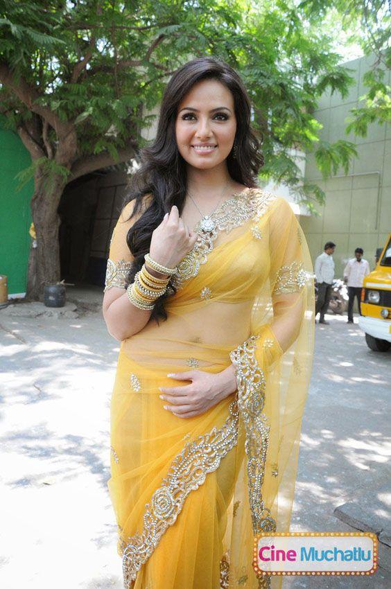 Actress Sana Khan Latest Photos in Yellow Saree