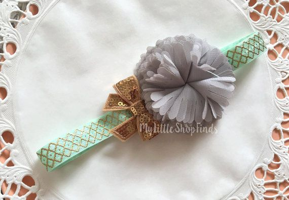 Cute Baby Headband in Mint and Gray by MylittleshopFinds on Etsy