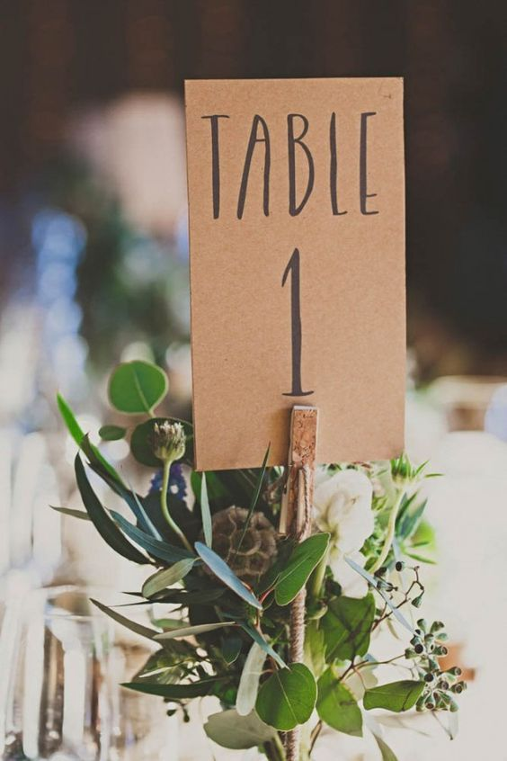 Kraft paper wedding table number - Image by Inner Song  / http://www.himisspuff.com/wedding-table-numbers-centerpieces/3/