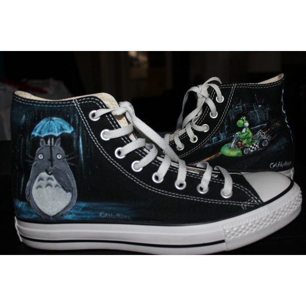 Hand Painted Yoshi Mario Kart Totoro Converse Any Size or Style Men's... ($149) ❤ liked on Polyvore featuring mens, men's shoes, men's sneakers, shoes, dark olive and women's clothing
