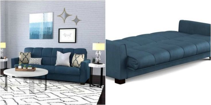 Blue Sectional Sleeper Sofa Bed Convertible Lounge Couch Modern Living Room