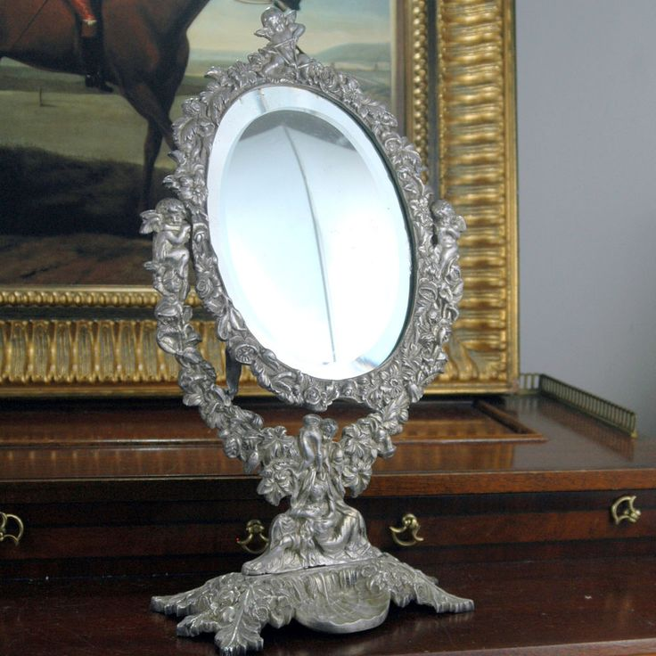 Antique 19th c french oval silver plate swing vanity for Silver vanity table