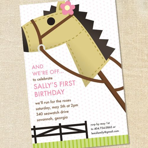 Pink Hobby Horse Invitations For Girls Kentucky Derby Birthday - Children's birthday parties derbyshire