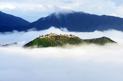 The ruins of Takeda castle floating on a sea of clouds - Asago city, Hyogo. Best viewed from sunrise to 8am in Sept to Nov.