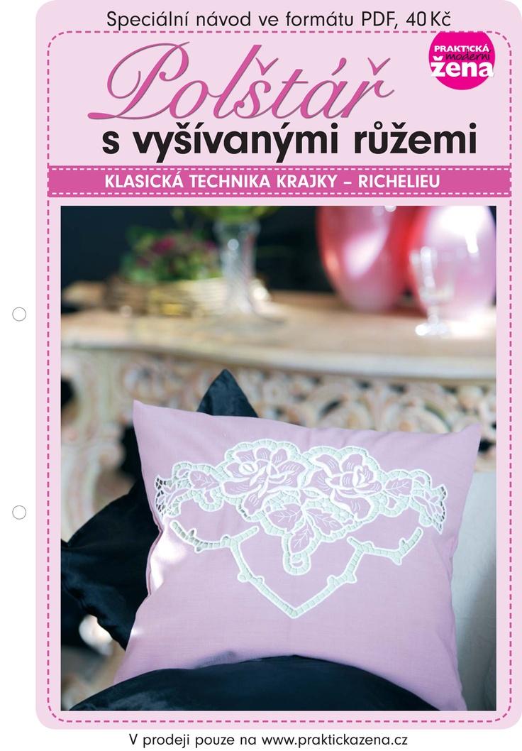 Polštář s vyšívanými růžemi – richelieu | Pillow embroidered with roses - richelieu