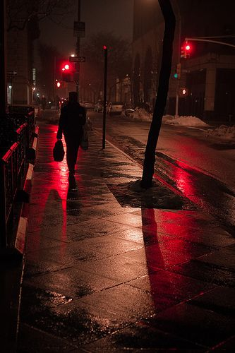 """""""I see the red light. I see it in your eyes."""" Nighttime walk down empty city streets. The best."""
