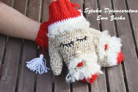 St Nicolas mittens  Adult Christmas Crochet Mittens от ilovemyyarn