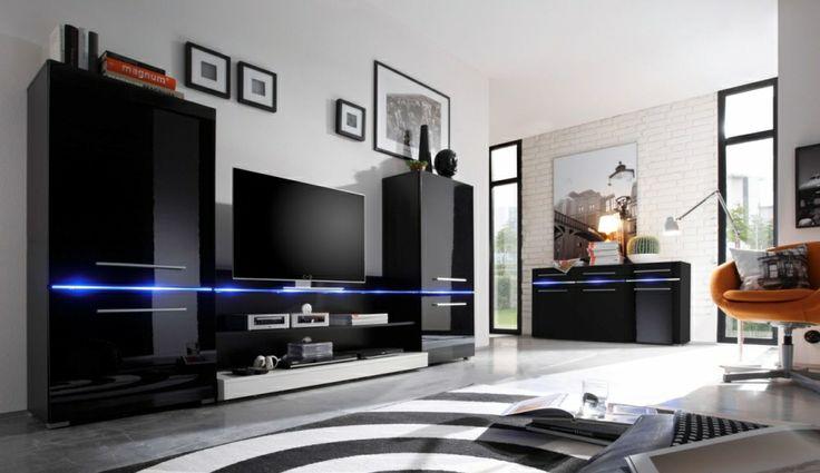 FABIA Wohnwand schwarz/schwarz