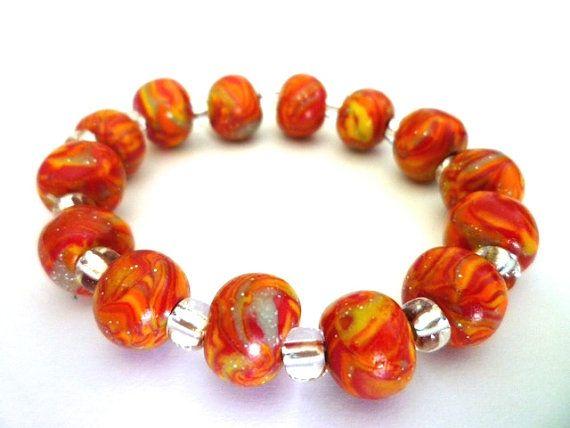 Elegant Bracelet in Fimo polymer clay beads orange by ByAzalea, 10.00