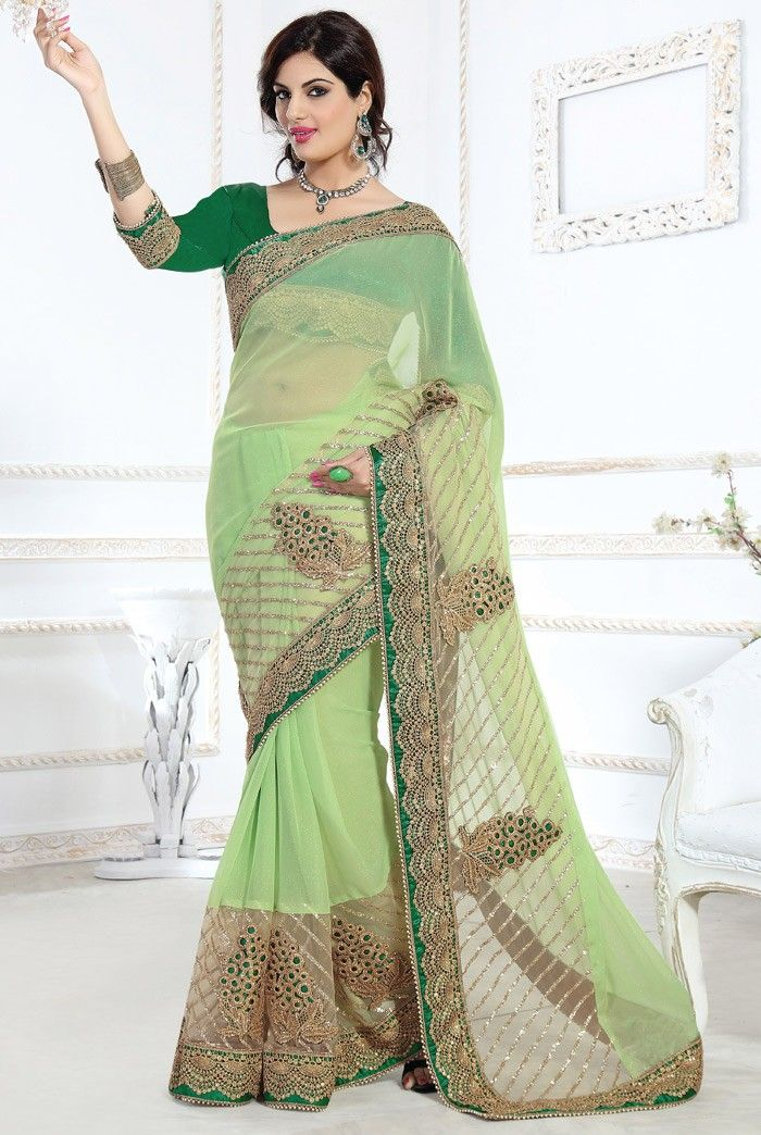 Green #Net #Saree with Blouse | Shop It Here: http://www.sareegalaxy.com/women/sarees/green-net-saree-with-blouse-ssv6b9236-sg