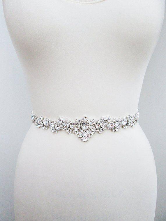 Swarovski Bridal Belt Sash Crystal Belt In Silver Or Gold