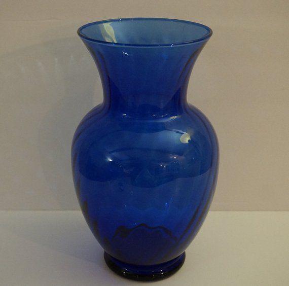 Cobalt Blue Tall Heavy Seamless Hand Blown Glass Vase Vintage