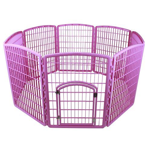 IRIS 8-Panel Plastic Pet Pen, CI-908, Pink -- Continue to the product at the image link.