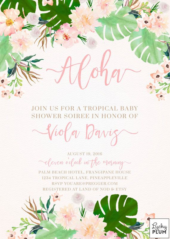 Tropical Baby Shower Invitation / Luau Baby por LuckyPlumStudio