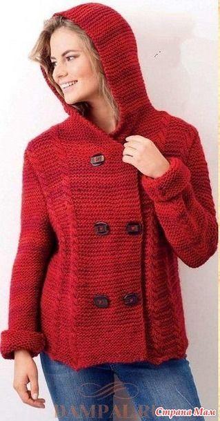 """Уютный жакет с капюшоном выполняется простым рисунком и украшен косами. Описание вязания жакета переведено из журнала """"Let's Knit"""". Размеры: 4 (6-8, 10-12, 14-16, 18, 20-22)"""
