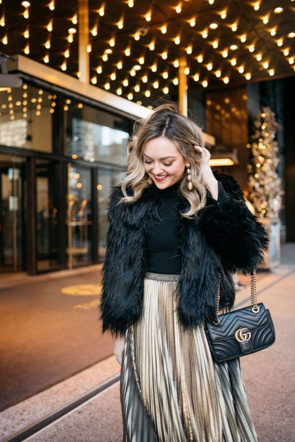b0f127e197 Winter Party Outfit: Black Fur Coat + Gold Skirt | Happy New Year | Gold  pleated skirt, Pleated skirt outfit, Black jacket outfit