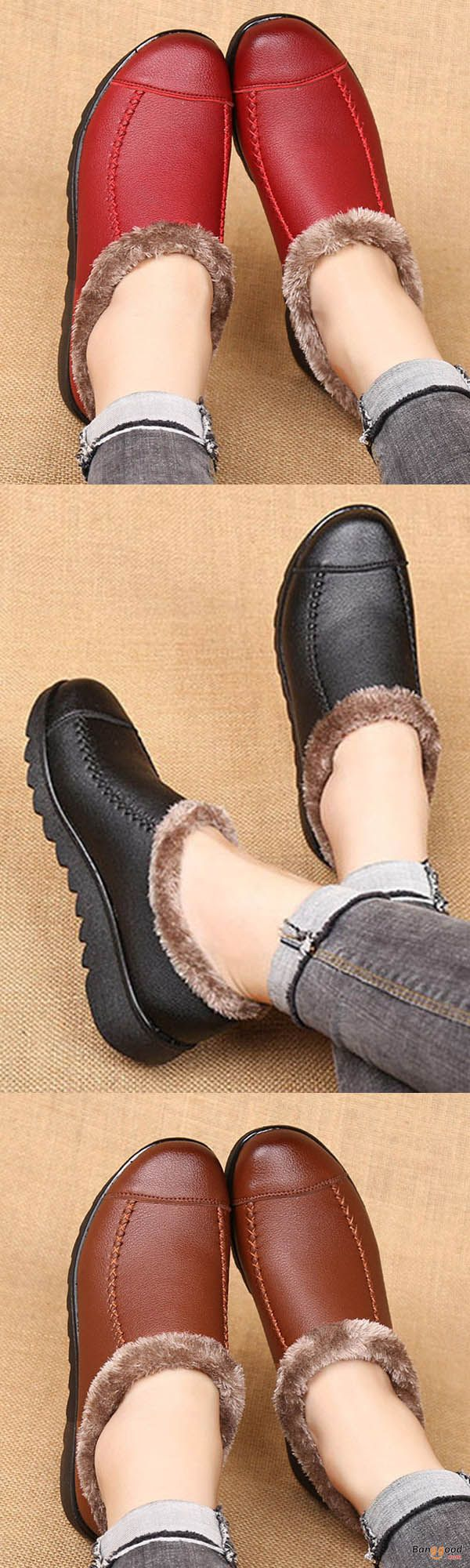 Soft sole slip-on leather casual fur-lining shoes. $28.96 + free shipping.