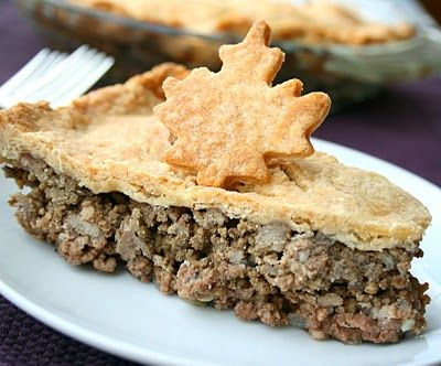 French Canadian Tourtiere--Not quite like my family's recipe, but leaving the potatoes out, and a crustless bottom, helps save on carb-overload. We don't put sage in our recipe, either, but that sure sounds good!