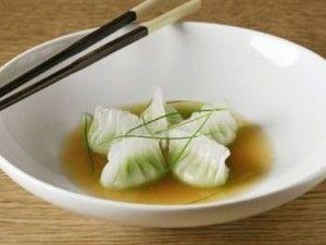 CookingDistrict.com - Featured Recipe - Truffle Edamame Dumplings and Mushroom Broth Recipe