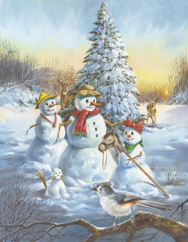 Ralph McDonald   Christmas Paintings Snow Bird