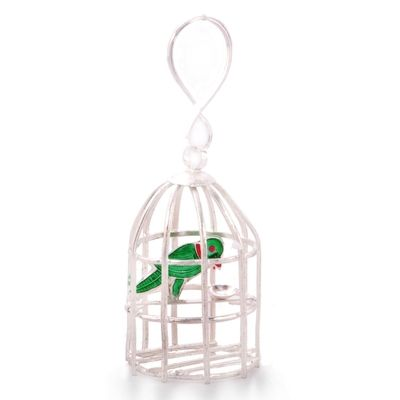 Decorative Silver Polished Green Parrot N Cage 227 Brass Handicrafts on Shimply.com