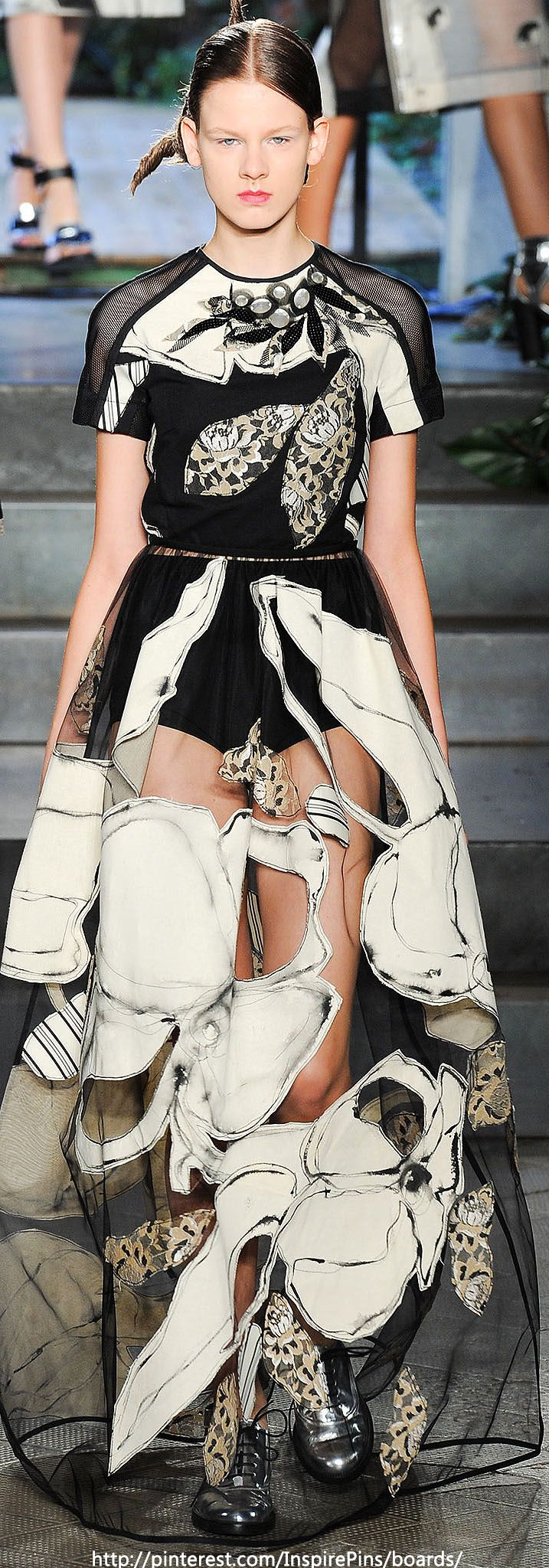 Spring 2014 Antonio Marras {like the idea of stitching illustrated material onto sheer}