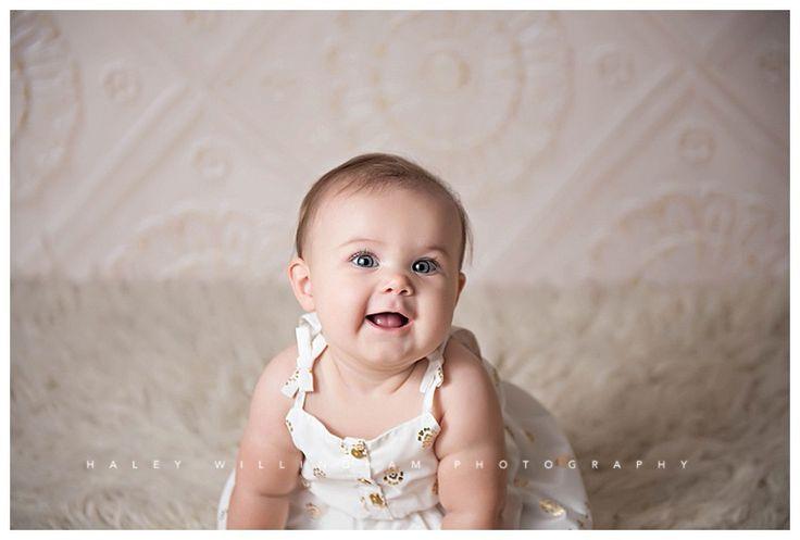 Maryland virginia west virginia baby milestone photographer 6 month girl poses studio