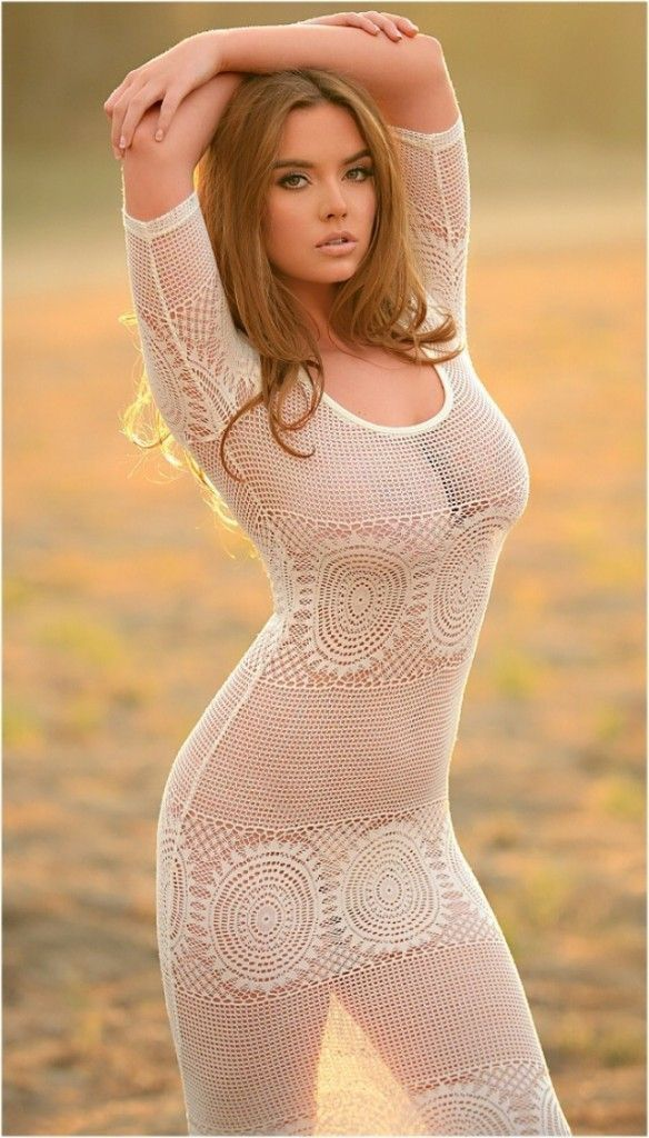 Model Outdoors Wearing See Through Clothing