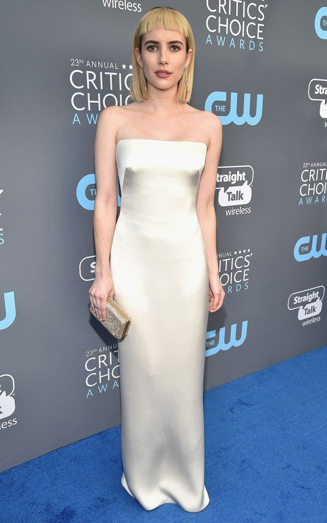 Standout Style Moments From The 2018 Critics Choice Awards Red Carpet Wedding Dress Emma Roberts Dresses