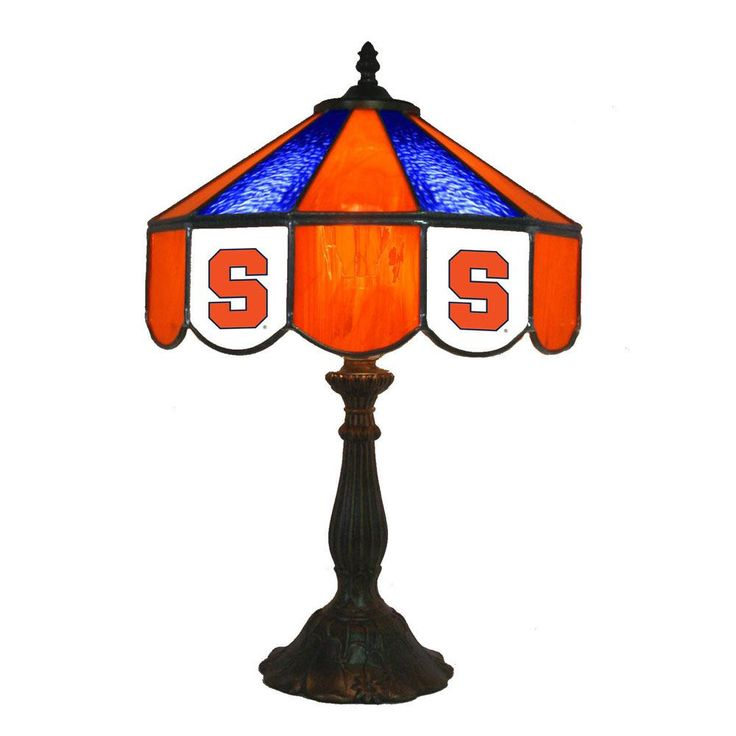 "14"" Syracuse Orange Desk Lamp w/ Tiffany Shade"