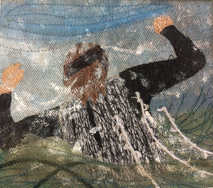 Kim swimming in splashy sea by Jackie Wills, detail.  Hand painted, machine embroidered panel.  This is a series of four panels created for my swimming friends.