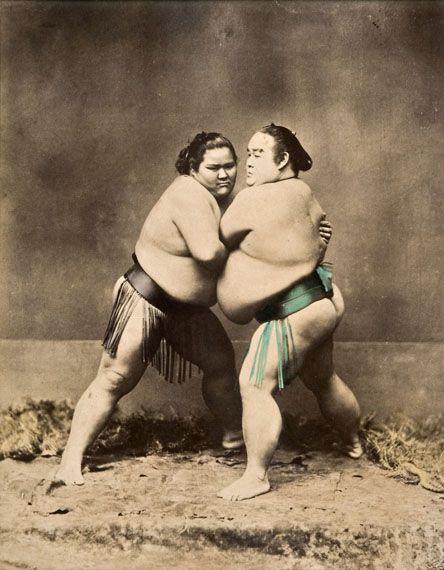 Two sumo wrestlers, ca. 1885